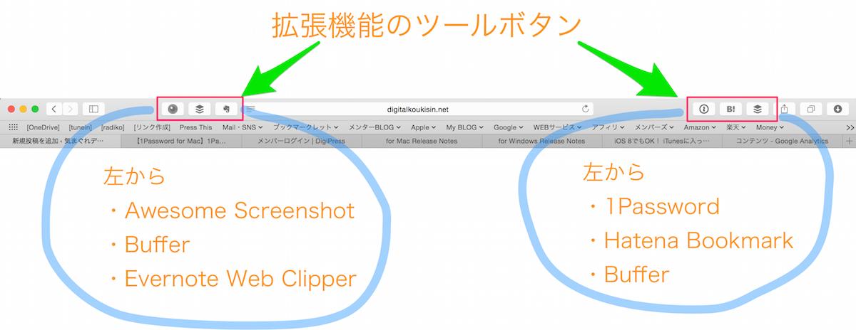 Safari拡張機能ツールボタン
